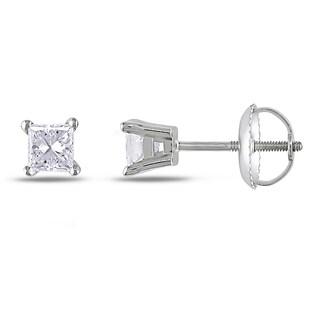 Miadora 14k White Gold 1/2ct TDW Princess-cut Diamond Stud Earrings