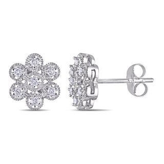 Miadora 14k White Gold 1/4ct TDW Diamond Flower Earrings (G-H, I1-I2)