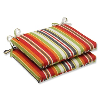 Pillow Perfect Outdoor Roxen Stripe Citrus Squared Corners Seat Cushion (Set of 2)