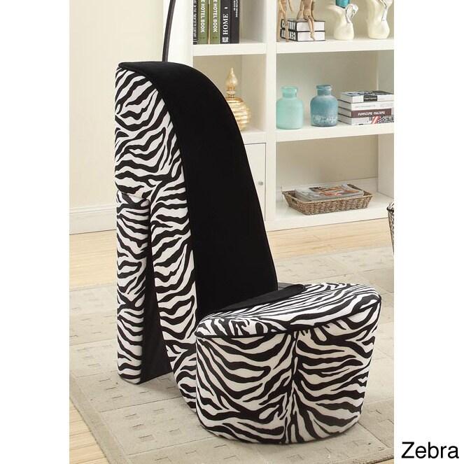 High Heel Shoe Fabric Chair (Zebra High Heel Shoe Chair),...