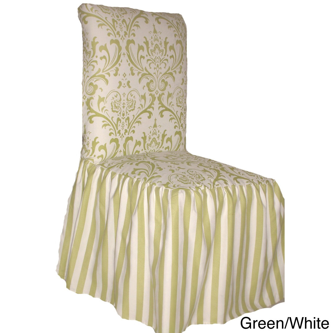 damask and stripe dining chair slipcover  set of 2   option  green  green slipcovers  u0026 furniture covers for less   overstock    rh   overstock