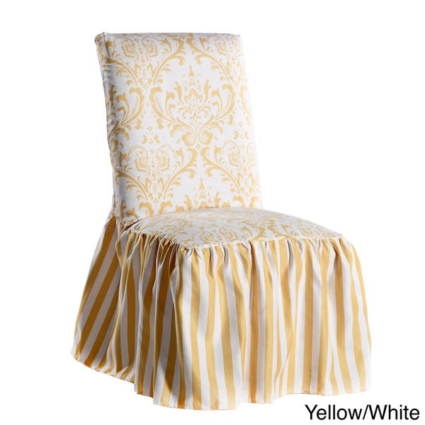 Damask And Stripe Dining Chair Slipcover Set Of 2 On Sale Overstock 8746935