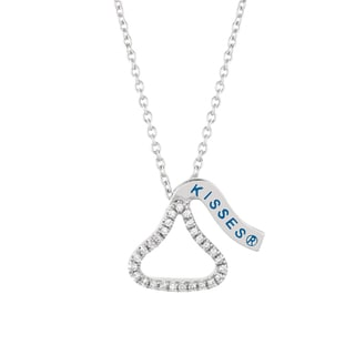 Sterling Silver Diamond Accent Hershey's Kiss Outline Necklace