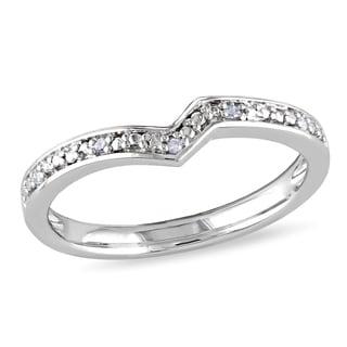 Miadora Sterling Silver Contour Diamond Wedding Band