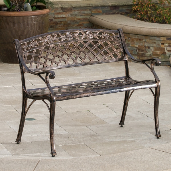 Hamilton Copper Cast Aluminum Outdoor Bench by Christopher Knight Home - Free Shipping Today ...