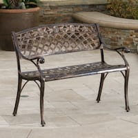 Hamilton Copper Cast Aluminum Outdoor Bench by Christopher Knight Home