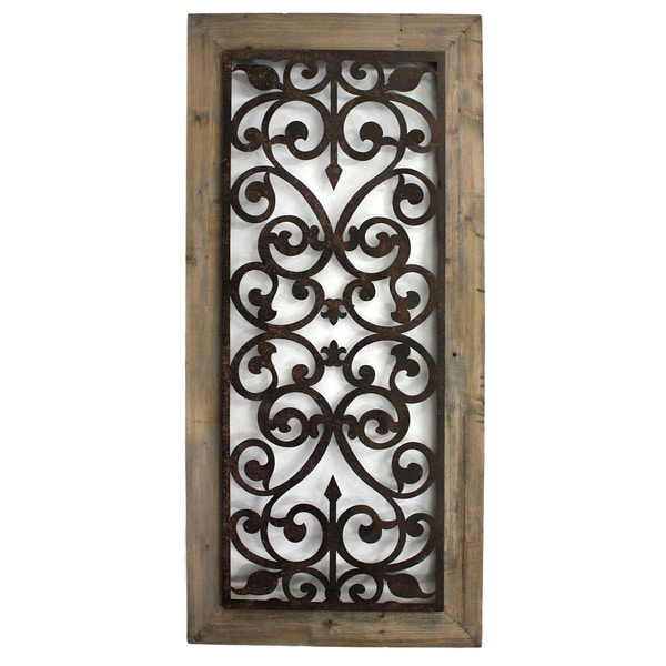 Metal And Wood Scroll Work Wall Plaque China Free