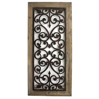 Handmade Metal And Wood Scroll Work Wall Plaque China