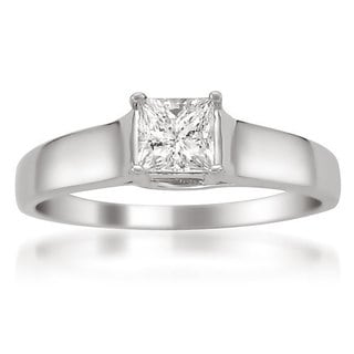 Montebello 14k White Gold Certified 1/3ct TDW Princess Solitaire Diamond Ring