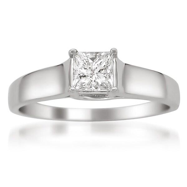 Montebello 14k White Gold Certified 1/3ct TDW Princess Solitaire Diamond Ring