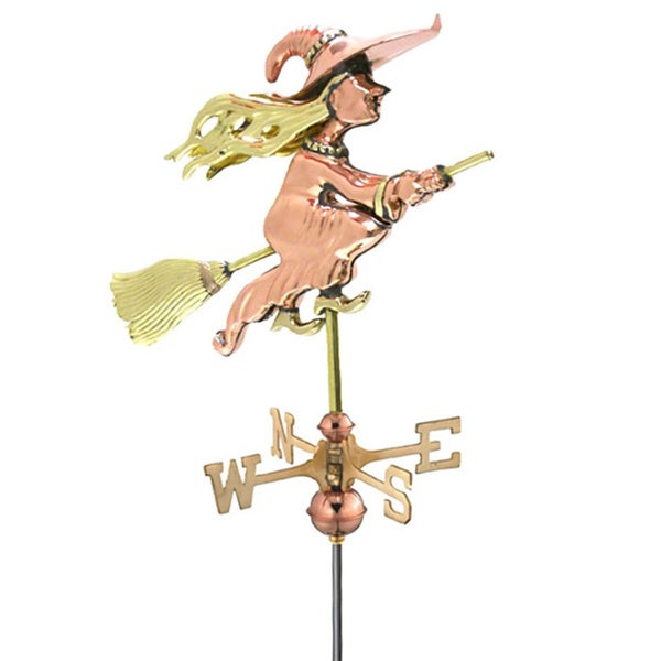 Witch Pure Copper Garden Weathervane with Garden Pole by Good Directions