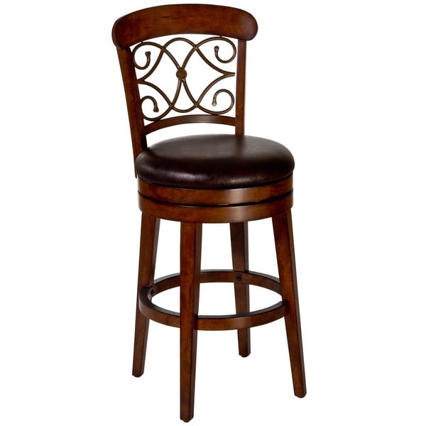 Shop Bergamo Cherry Dark Brown Swivel Stool Free