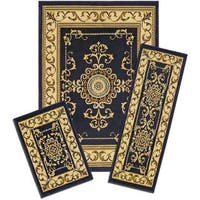Achim Capri Royal Crown 3-piece Navy Rug Set