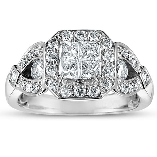 Eloquence 10k White Gold 1 1/4ct TDW Princess-cut Diamond Engagement Ring