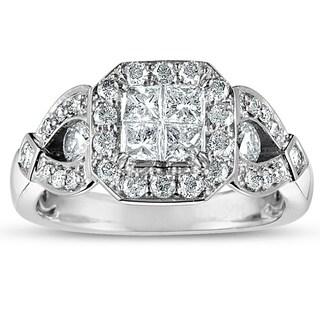 Eloquence 10k White Gold 1 1/4ct TDW Princess-cut Diamond Engagement Ring