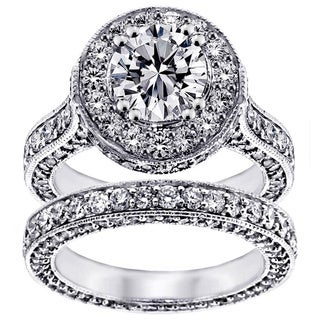 14k White Gold 5 1/3ct TDW  Clarity Enhanced Diamond Halo Eternity Bridal Set