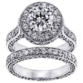 14k White Gold 5 1/3ct TDW  Clarity Enhanced Diamond Halo Eternity Bridal Set