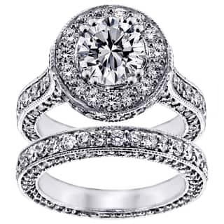 14k White Gold 5 1 3ct TDW Clarity Enhanced Diamond Halo Eternity Bridal Set