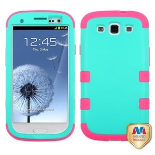 INSTEN Green/ Electric Pink TUFF Phone Case Cover for Samsung Galaxy S3 i747