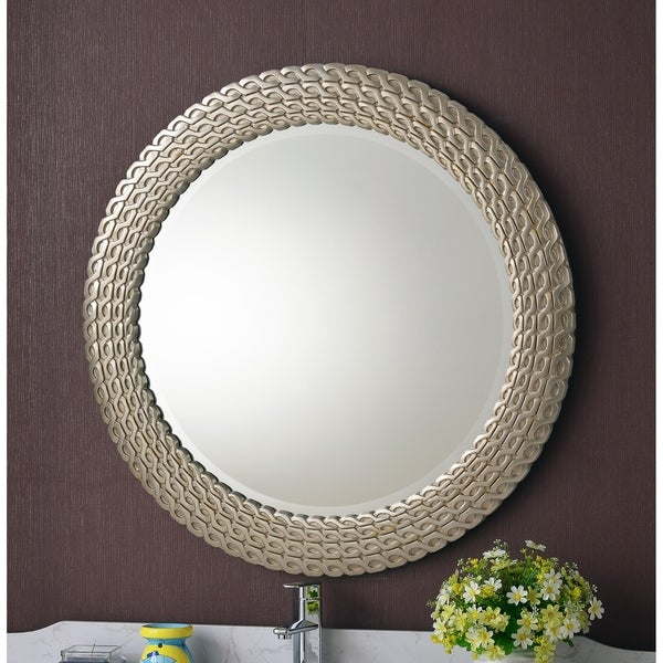 Marlia Brushed Silver and Gold Round Link Wall Mirror. Opens flyout.