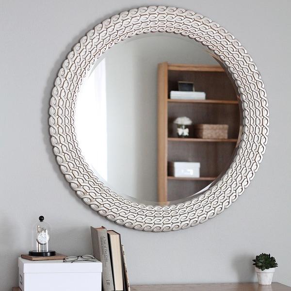 Overstock Mirrors: Shop Silvertone Round Link Wall Mirror