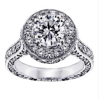 14k White Gold 3 4/5ct TDW Round Halo Diamond Engagement Ring
