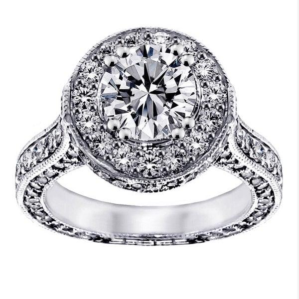 14k/ 18k Gold 3 4/5ct TDW Round Halo Diamond Engagement Ring (G-H, SI1-SI2)