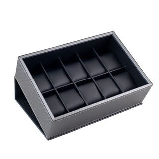 Caddy Bay Collection Carbon Fiber Pattern Flip Top 10-watch Box Storage Display
