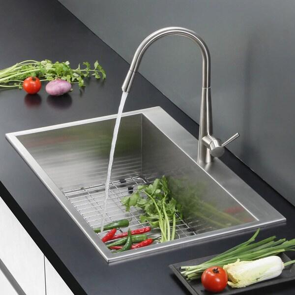 Ruvati Overmount 16 Gauge 25 Inch Kitchen Sink Single Bowl, Model RVH8010