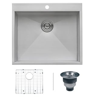 Ruvati Overmount 16 Gauge 25-inch Kitchen Sink Single Bowl, Model RVH8010
