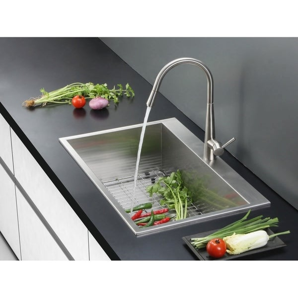 ruvati overmount 16 gauge 25 inch kitchen sink single bowl ruvati overmount 16 gauge 25 inch kitchen sink single bowl   free      rh   overstock com