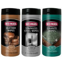 Weiman Stainless Steel, Leather and Granite Wipes Care 3-piece Set