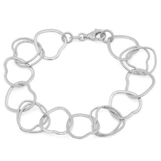 Sterling Essentials 7-inch Open Heart Links Bracelet
