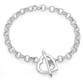 Sterling Essentials Silver 7.5-inch Arrow Heart Toggle Bracelet