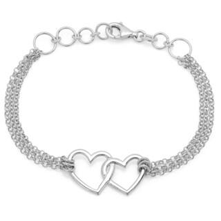 Sterling Essentials Sterling Silver 7.5-inch Linked Hearts Bracelet
