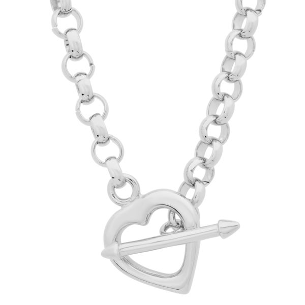 Sterling Essentials Sterling Silver 17-inch Cupid's Arrow Heart Toggle Necklace