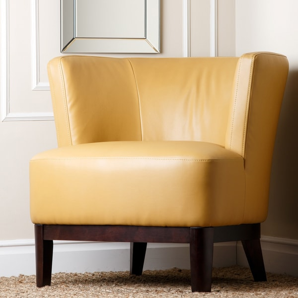 Shop Abbyson Living Clark Yellow Bonded Leather Accent