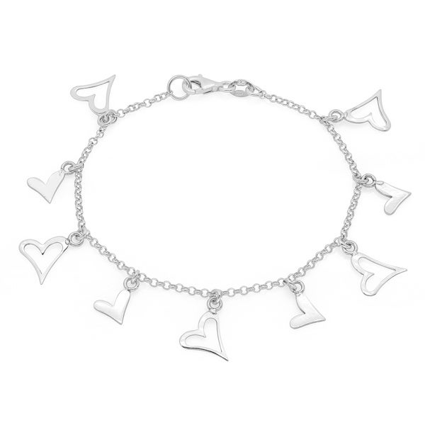 Sterling Essentials Sterling Silver 7-inch Stylized Heart Charms Bracelet