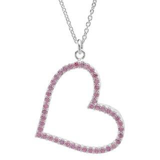 Sterling Essentials Silver Pink Cubic Zirconia Sideways Heart Pendant Necklace