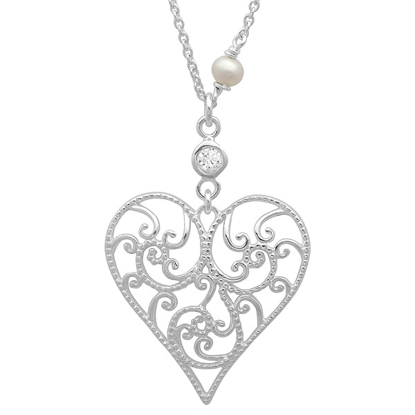 Sterling Essentials Sterling Silver Cubic Zirconia and Pearl Filigree Heart Pendant Necklace (3-4 mm)
