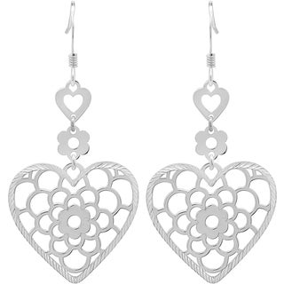 Sterling Silver Floral Heart Drop Earrings