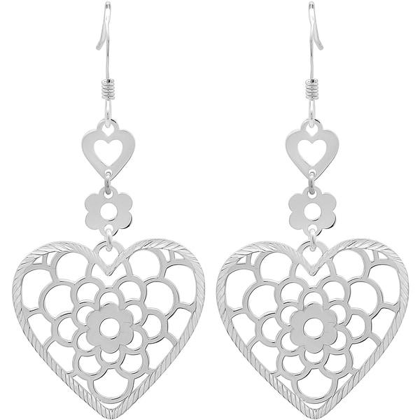 Sterling Essentials Tiered Floral Heart Drop Earrings