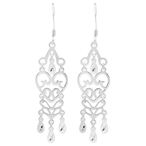 Sterling Silver Heart Chandelier Earrings