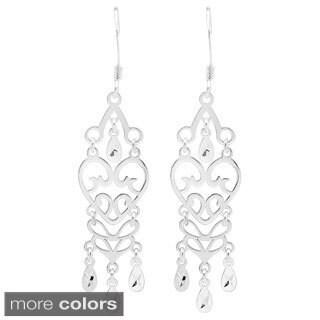 Sterling Silver Heart Chandelier Earrings