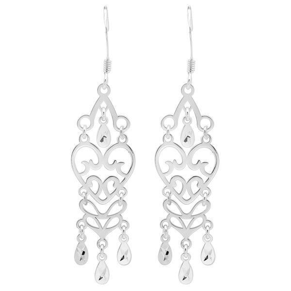 Sterling Essentials Sterling Silver Heart Chandelier Earrings