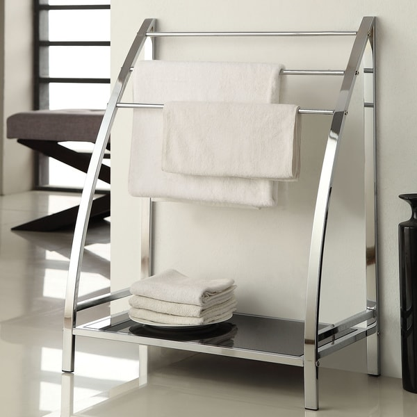 Shop Chrome Finish Towel Bathroom Rack Stand Glass Shelf