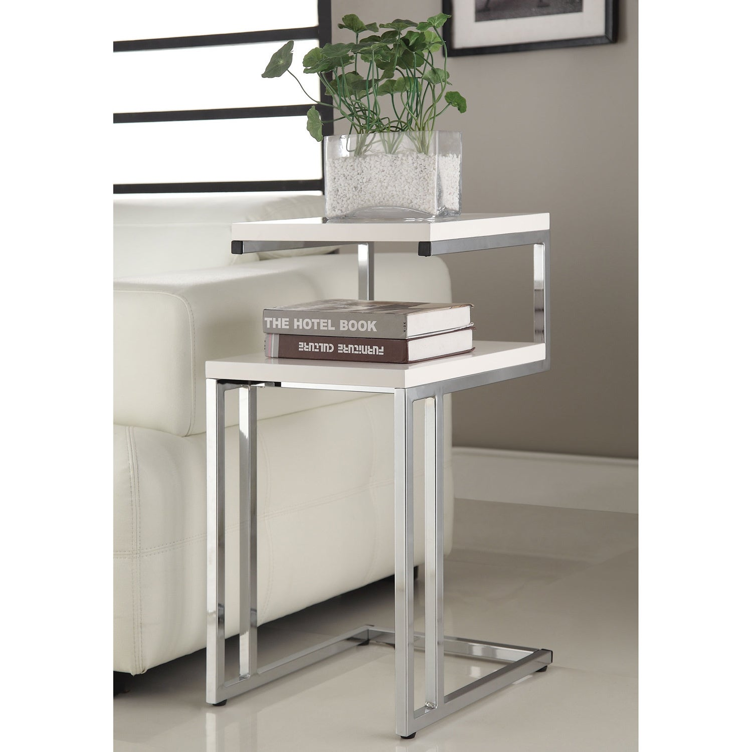 General White Finish Chrome Side End Snack Table (White C...