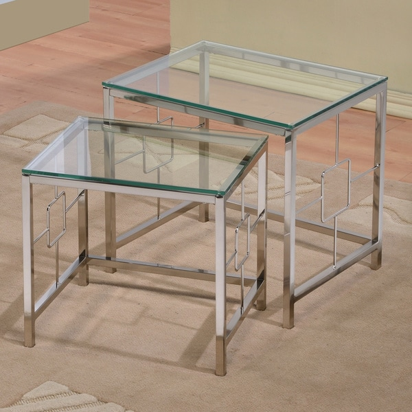 Contemporary Chrome Glass Nesting 2-piece Side End Table Set