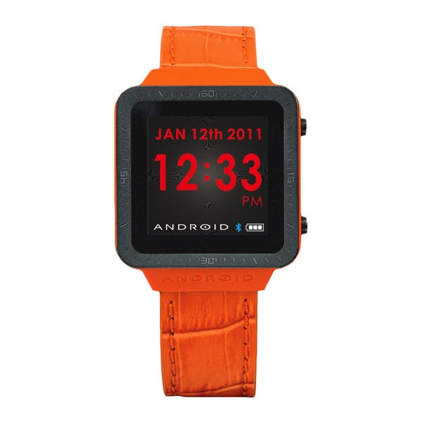 Android Men's Orange Digital Smart Watch