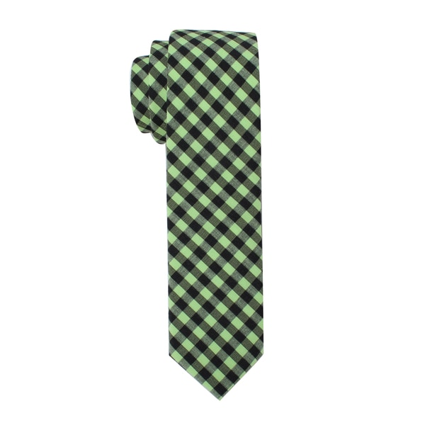 Skinny Tie Madness Men's Green Plaid Skinny Tie